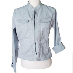 CAbi jacket zip up blue notch collar style 925